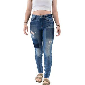 7 FOR ALL MANKIND Patchwork Skinny Jeans #BS7